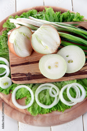 Composition with herbs and onions on wooden table