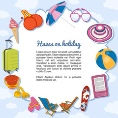 Cosas imprescindibles en vacaciones, formando un marco