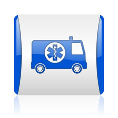 ambulance blue square web glossy icon