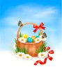 Easter background with Easter eggs with basket in the grass. Vec
