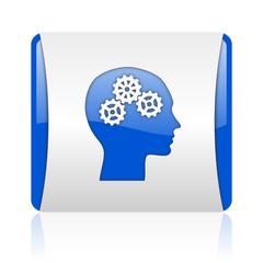 head blue square web glossy icon
