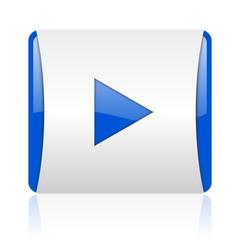 play blue square web glossy icon