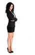 Full length businesswoman on white background