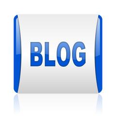 blog blue square web glossy icon