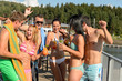 Young people having party at beach