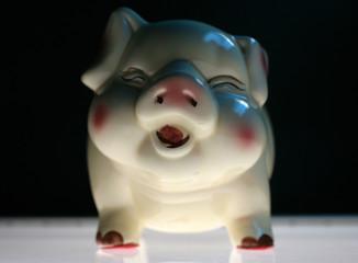 Sparschwein mit Lichtfuehrung von unten.