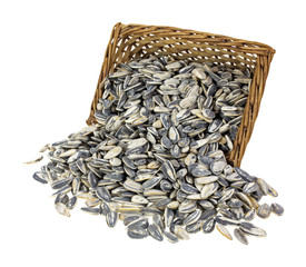 Basket of sunflower seeds spilling over