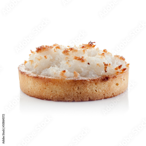 Coconut individual pie isolated on white