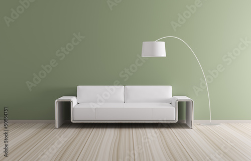 Modern interior with sofa 3d render
