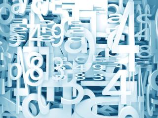 fondo 3d con numeros y letras en tono azul