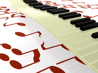 Klaviertastatur über Noten