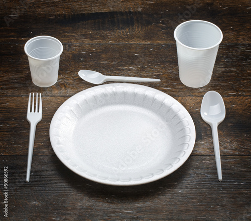 white disposable dishware
