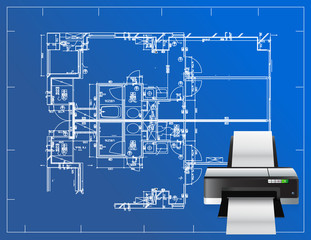 printer blueprint illustration