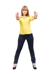 Serious woman making stop hand sign palm gesture