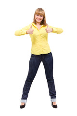 Image of attractive blonde woman showing thumbsup