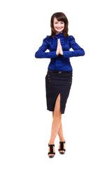 Businesswoman with hands in prayer