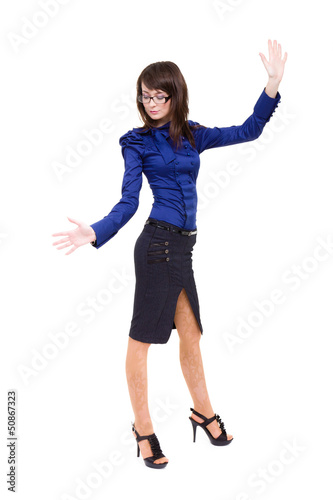 Business woman touching something imaginary