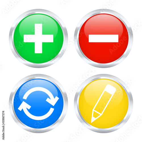 Set of edit web buttons. Vector illustration
