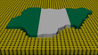 Nigeria map flag with oil barrels illustration