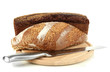 Bread with sesame seeds and knife