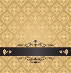 Golden flowers and swirls invitation design