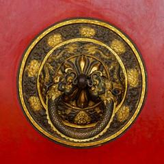 Tibetan door knocker in Kathmandu, Nepal