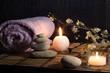 fiori di mandorlo con pietre zen e candele - laterale