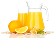 Full glass and jug of orange juice and oranges isolated on