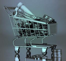 Money in cart in grey light