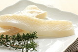 Freshness raw flatfish and rosemary