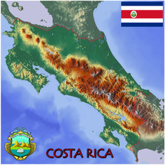 Costa Rica Central America national emblem map symbol motto