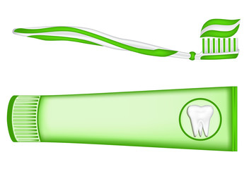 toothpaste, toothbrush. vector mesh illustration