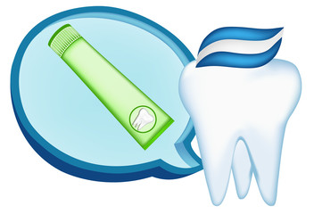 tooth,  toothpaste. mesh illustration