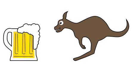 Beer and kangaroo