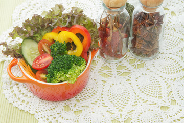 mix healthy salad and spices