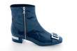 Navy blue patent leather zipped bootie