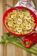 Amish macaroni Salad made with Gemelli pasta