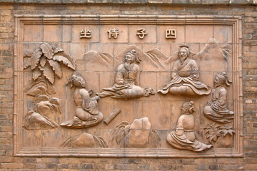 relief on the wall in a museum, ancient Chinese traditional styl