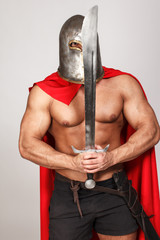 Hot musculed fighter with his sword