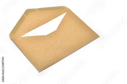 Opened brown envelope with paper