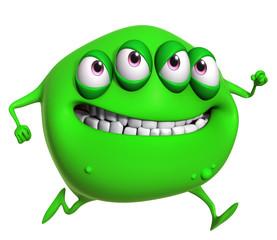3d cartoon green monster