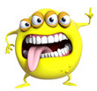 3d cartoon yellow monster
