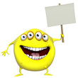 3d cartoon yellow monster holding placard