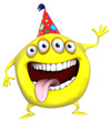 3d cartoon yellow birthday monster