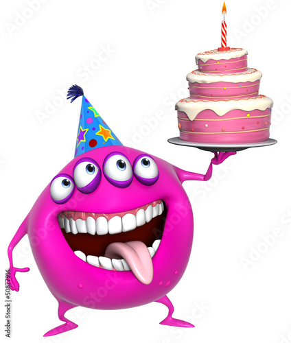 In de dag Sweet Monsters 3d cartoon pink birthday monster with cake