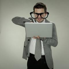 businessman uses computers