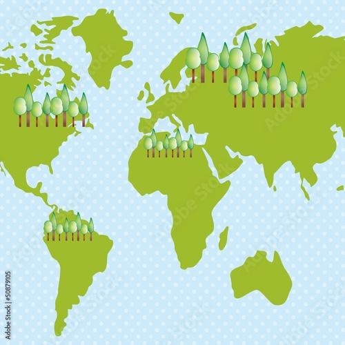 Staande foto Wereldkaart Earth, planet and nature icons