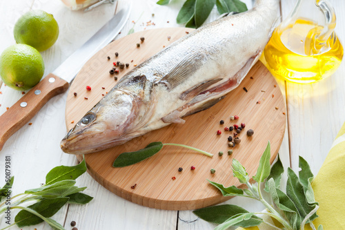 process of preparing raw fish, walleye