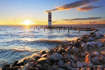 Lighthouse at Lake Neusiedl at sunset - Austria