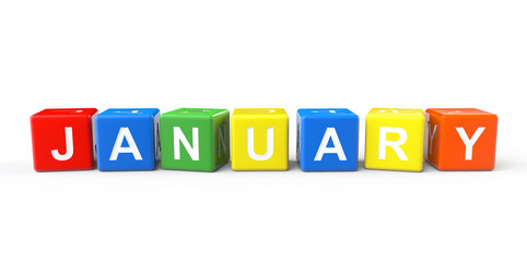 Cubes with January sign